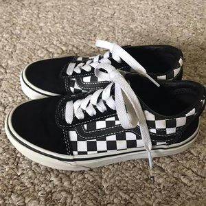 Black White Checkered Vans Shoes Unisex 1 Youth